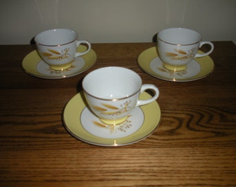 Homer Laughlin Autumn Gold Cups and Saucers (Set of 3)