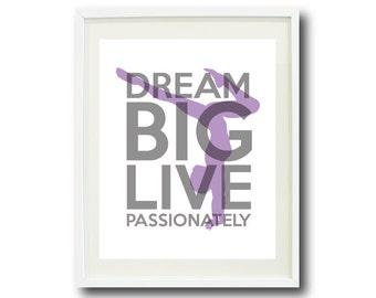 Dream Big Live Passionately Series-Gymnastics-11x14 Art Print-Grey-Purple OR Choose Colors-Kids-Teen Girl-Wall-Home Decor-Dancer-Children