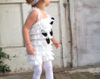 The Friendliest Little Ghost Costume Petti Romper and matching Headband Set.
