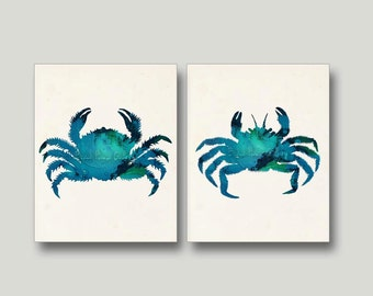Blue Crab, Crab Wall Art, Blue Crabs,Marine Life, Sea Life Print, Crab Posters, Ink, Blue, Green, Teal, Autumn Wall Art, Fall Decor 8x10