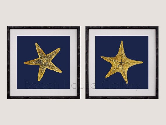 Gold Starfish Wall Decor : Gold starfish wall art navy home decor print