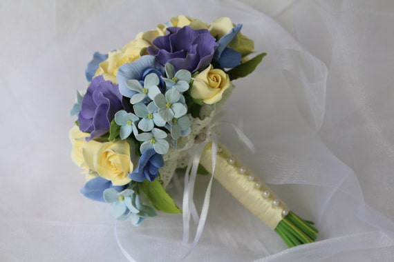 Make to order. Wedding bouquet with rose, eustoma, sweet pea and hydrangea polymer clay flowers. Made by order .