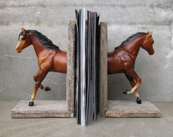 Horse bookends in chestnut / handmade  with reclaimed wood / ooak / equine collection