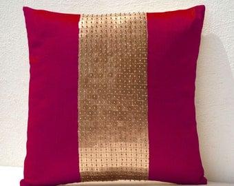Throw Pillows -Fuchsia gold color block in silk sequin bead detail cushion -sequin bead pillow -All Size -Fuchsia pillow -gift pillow -Gifts