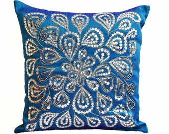 Blue Throw Pillow Cover Silver Sequins Dazzling Holiday Decor Wedding Pillow Cushion Cover Zipper Decorative Pillow Gifts for Her - 18X18