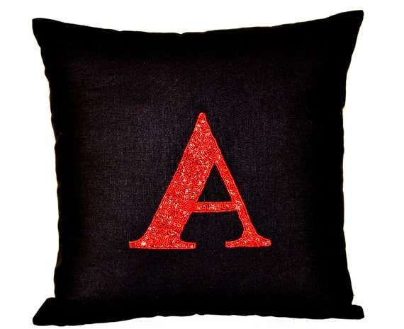Items similar to Beaded Red Monogram decorative pillow- Monogrammed Throw pillows -pillow cover ...