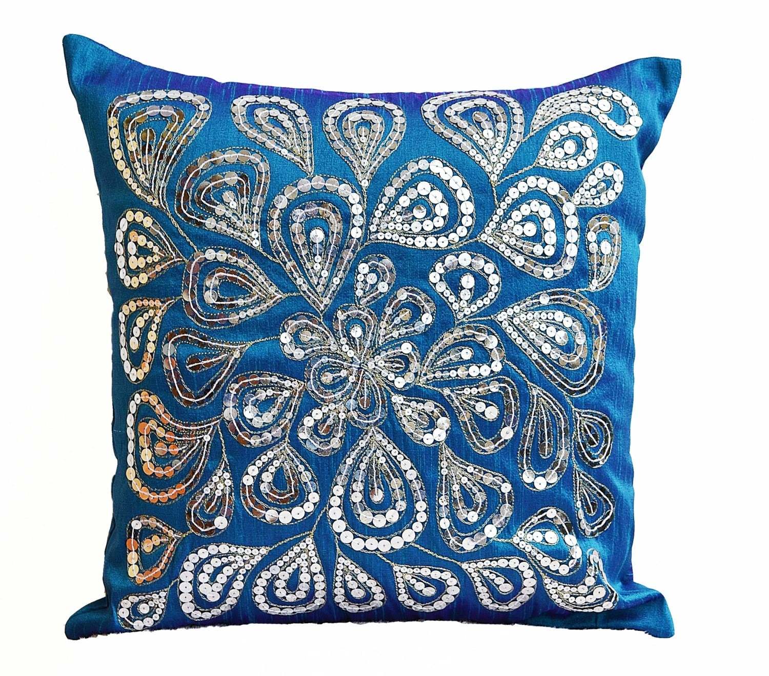 Blue throw pillows with silver sequins Dazzling pillow