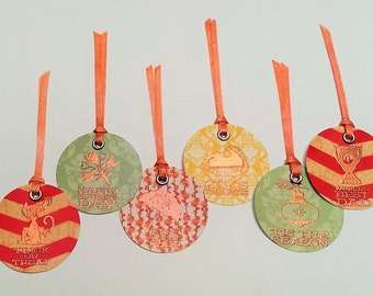 Handmade Embossed Icons and Holiday Sentiment Gift Tags (Set of 6)