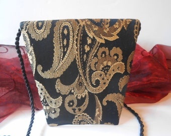 Gold Black Evening Bag, Vintage Handbag, Gold Black Purse, Vintage Purse, Gorgeous Design EB-0555