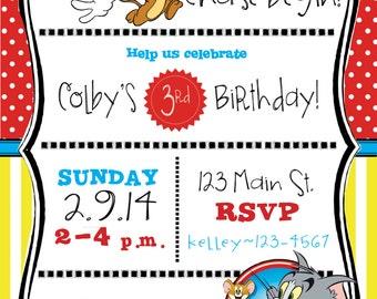 Tom & Jerry Themed Birthday Party Invitation-Printable