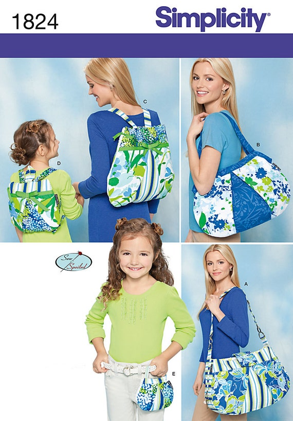 Simplicity 1824 Sewing Pattern Diaper Bag Shoulder By