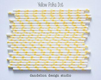 Buy 2, Get 1 FREE!!!    YELLOW Polka Dot Paper Straws - Pack of 25 - Dandelion Design Studio