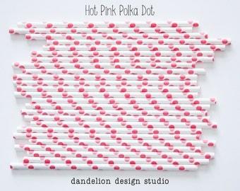 Buy 2, Get 1 FREE!!!     HOT PINK Polka Dot Paper Straws - Pack of 25 - Dandelion Design Studio