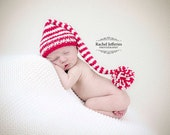 Newborn Santa Elf Stocking Baby Hat  - Father Christmas - First Christmas - Holiday gift - photo prop - vegan - hand knitted - baby shower -
