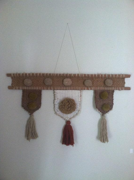 vintage brown pom yarn wall hanging home decor