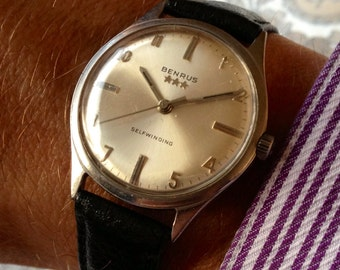 Lovely 1960s Benrus Triple Star Self-winding automatic Swiss watch. Professionally Serviced