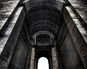"Black and White Photography - Paris photography, Arc De Triomphe, Paris decor, architecture, home decor, Paris wall prints - ""Triumph"""