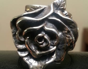Large sterling silver rose ring alternative steampunk gothic art nouveau victorian