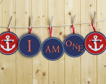 "INSTANT DOWNLOAD Nautical Birthday ""I am one"" high chair banner Diy Printable"