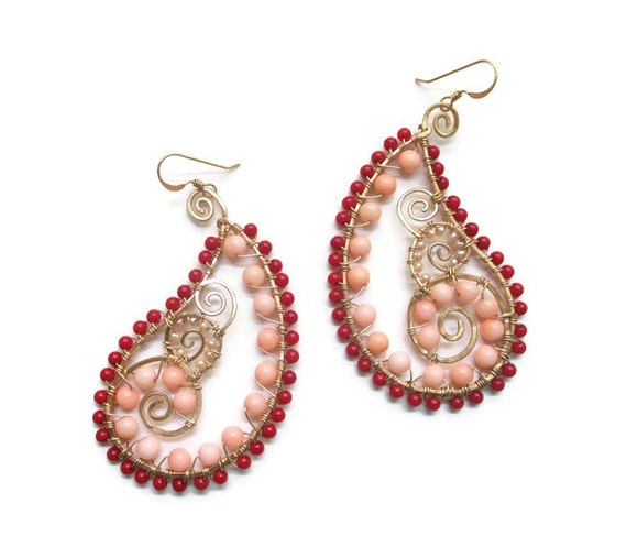 items similar to wire wrapped earrings paisley earrings