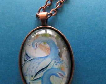 Glass domed Peacock Pendant on antique copper setting with 18 inch rolo chain
