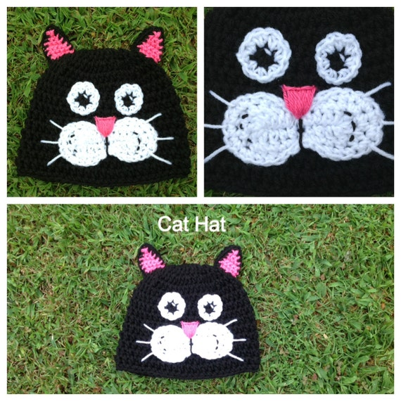 Items similar to Crochet Cat Hat Pattern . Newborn - Adult Sizes on ...