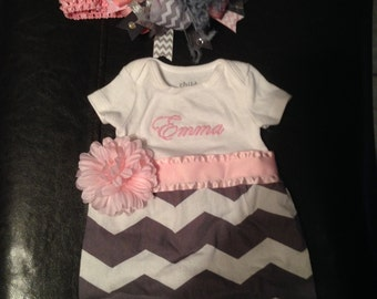 Baby Girl Onesy Dress and Headband