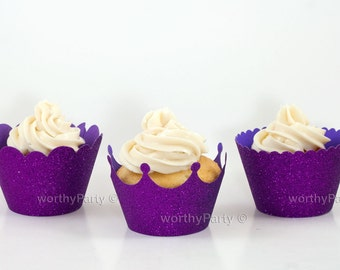 PURPLE GLITTER Sparkling Cupcake / Muffin Wrappers - Crown, Scalloped, Mini Scalloped - 3 Assorted designs (set of 12)