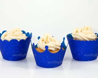ROYAL BLUE GLITTER Sparkling Cupcake / Muffin Wrappers - Crown, Scalloped, Mini Scalloped - 3 Assorted designs (set of 12)