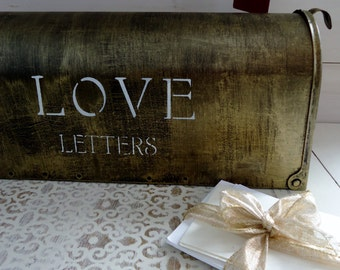 Vintage Gold Wedding Card Mailbox