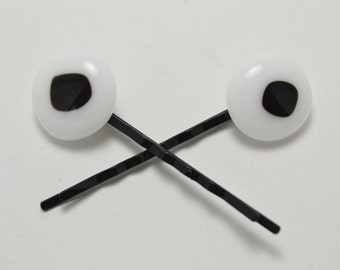 White and black fused glass Bobby pins