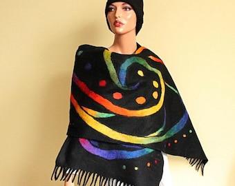 Rainbow scarf Black shawl felt Scarf felted nunofelt Black scarf rainbow, Silk and wool scarf, fairytale style