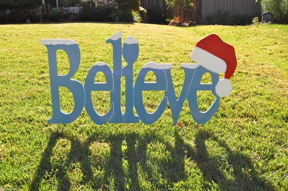 Items similar to believe in santa outdoor christmas for Outdoor christmas signs