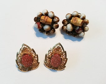 2 Pairs of Vintage Clip Earrings  FREE SHIPPING