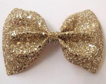 Gold Glitter Hair Bow /  Glitter Bow / Gold Glitter Bow /  Glitter Fabric Bow / Headband / Sparkly Hair Clip /  Bow Hair Clip