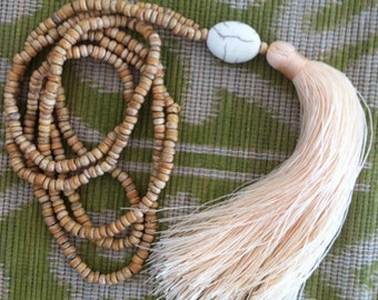 Long Tassel Necklace - Wooden Beaded with Stone Statement - Ladies Statement Jewelry