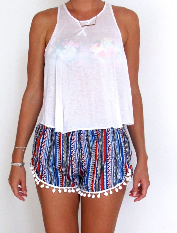 High Waisted Pom Pom Shorts Aztec Pattern with Large White