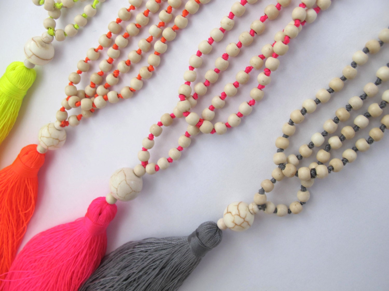 neon beaded tassel necklace. Black Bedroom Furniture Sets. Home Design Ideas