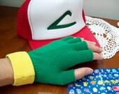 Pokemon  Ash Ketchum Trainer Gloves -    Fingerless Green Gloves - Anime  Cosplay Costume