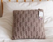 "Knitted Pillow Cover, Hand Knitted Cushion Cover, Beige Pillow Sham, Cable Knit Pillow,14"", 35cm - BLISSFORD"