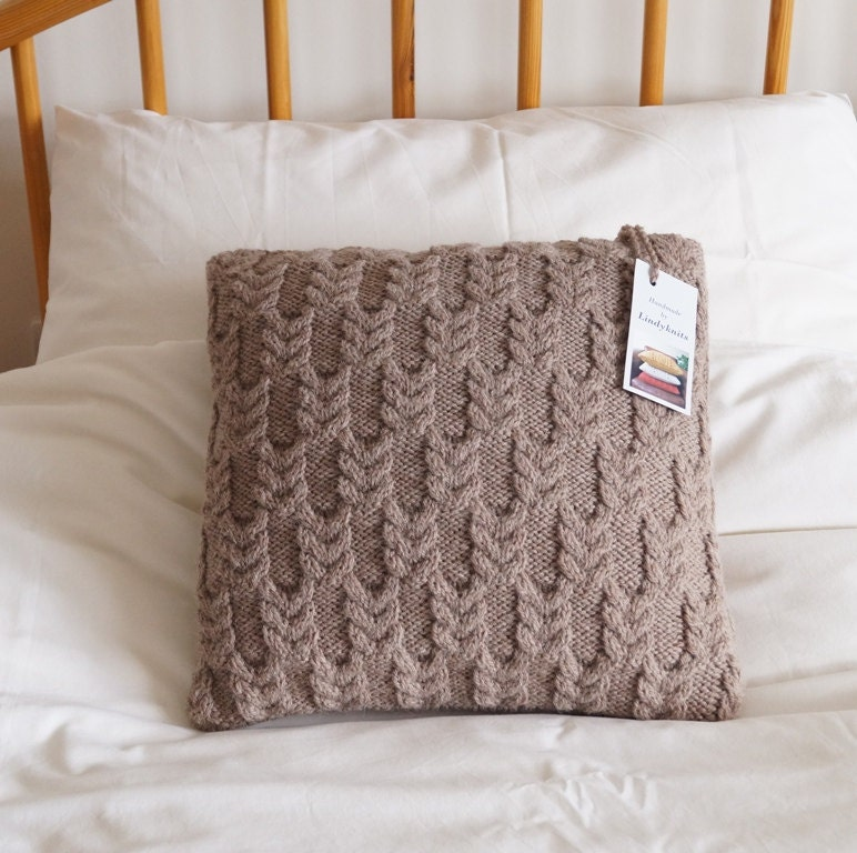 Knitting Pillow Cover : Knitted pillow cover hand cushion beige