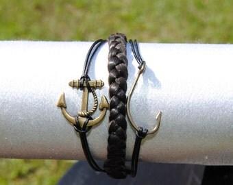 Nautical Anchor Hook Leather Bracelet