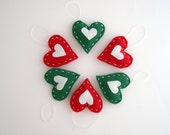 Red & green hearts Christmas ornaments -  holiday decor - gift wrap ideas - home decoration - FishesMakeWishesHome