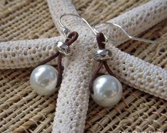 Keep It Precious - Swarovski Pearl and Leather Earrings