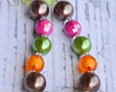 Pink, Brown, Green, and Orange Chunky Girl Necklace