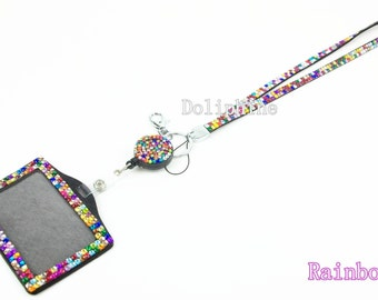 Breakaway Rainbow 3 in 1 Rhinestone Bling Neck LANYARD with Reel and Horizontal / Vertical ID Badge Holder