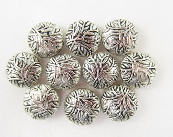 10pcs 12mm Round Domed Leaves Branches Silver Plated Beads (F709)