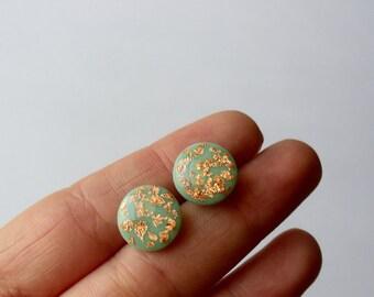 Mint rose gold post earrings- Mint green jewelry- elegant stud earrings