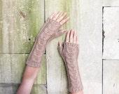 Brown Fingerless Woolen Gloves For Women Warm Olive Knitted Gloves Gifts For Women Long Gloves birthday gifts