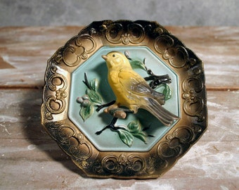 Vintage Napcoware 3-D Gold Finch Wall Plaque